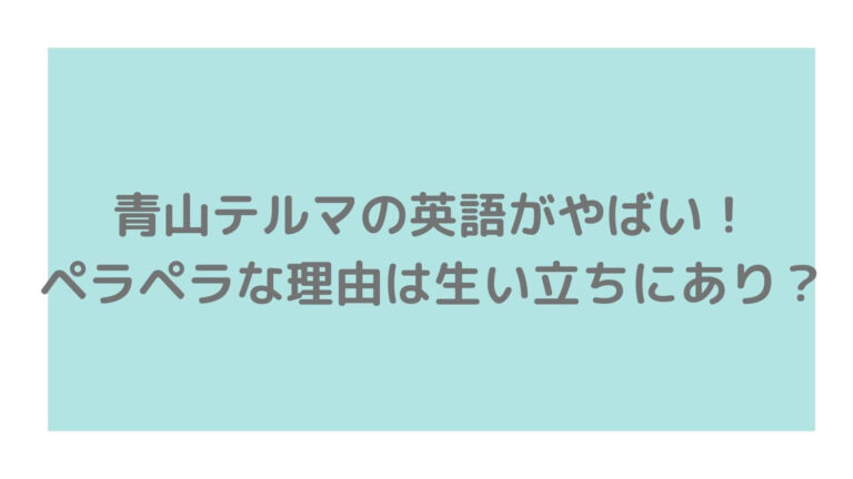 青山テルマ英語